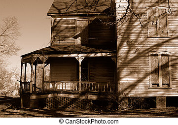 old house in a sepia tone