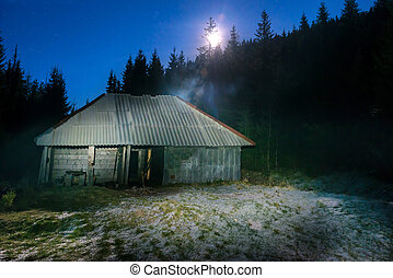 Old house in forest at night