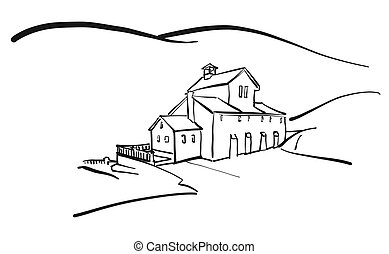 Old house in hills drawing