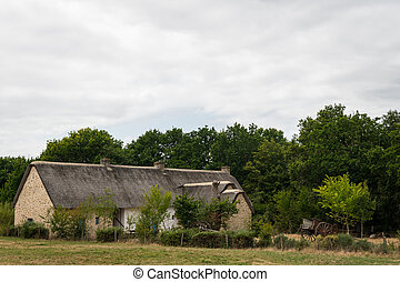 old house in saint lyphard with a thatched roof