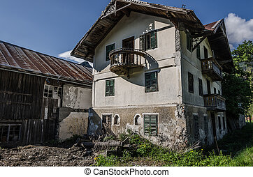 old decayed house in the mountains