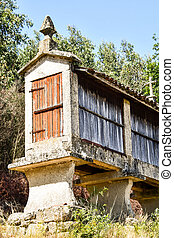 old house in village, photo as a background