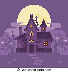 Old house int the swamp. Halloween witch hut flat illustration. Trick or treat. Dark fantasy background