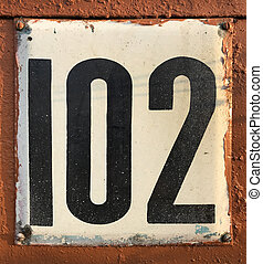 old house number plate 102