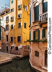 Old house on a canal in Venice