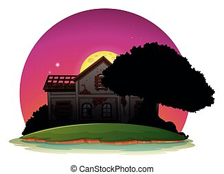 Old house on island at night