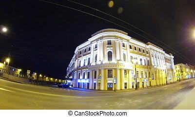Old house on Nevsky Prospekt in St. Petersburg Night