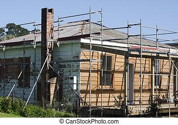 Old house repair - KAITAIA, NZ - AUG 29:Historic European...