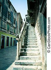 Old house stairway in city of Zadar, Dalmatia, Croatia
