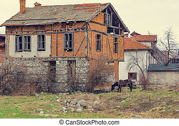 Old house village horse