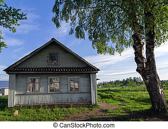 house village Russia birch