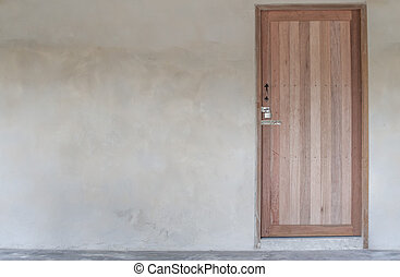 old house wall with wooden door