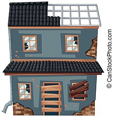 Old house with broken roof and windows