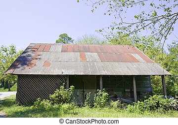 Old House with Corrugated Tin Roof