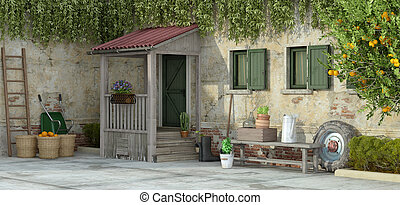 Old house with gardening tools - 3d rendering