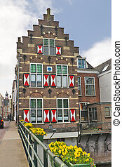 Old house with shutters in Gorinchem. Netherlands