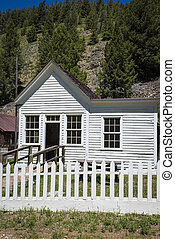 Old house with white picket fence in Custer, Idaho
