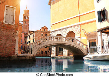 Old houses and bridge in Venice, Italy