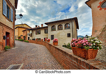 Old houses and narrow street. Barolo, Italy.