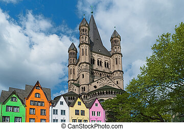 Old houses and St. Martin Church, Cologne, Germany