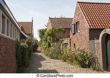 old houses and street in Veere in Holland