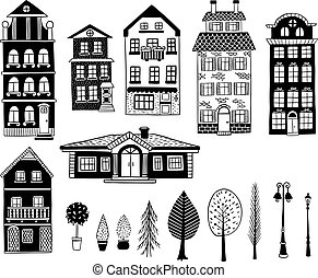 Old houses and trees, lanterns and bushes.