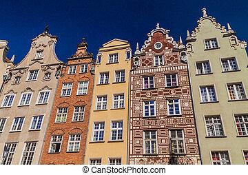 Old houses at Dlugi Targ square in Gdansk, Polan