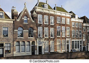old houses detail, middelburg - detail of facades of old ...