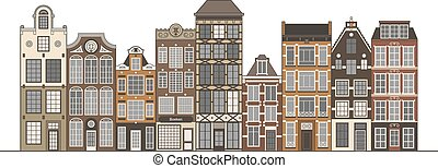 Old houses illustration - Amsterdam narrow houses standing...