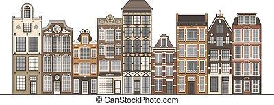 Old houses illustration - Amsterdam narrow houses standing...