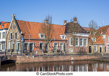 Old houses in historical city Sneek