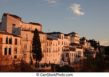 Old houses in Ronda at sunset, Andalusia Spain