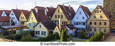 Old houses in Rothenburg ob der Tauber, picturesque medieval city in Germany, famous UNESCO world culture heritage site, popular travel destination