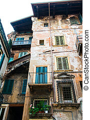 old houses in the center of Verona