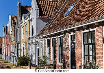 Old houses in the historic center of Harlingen, Netherlands