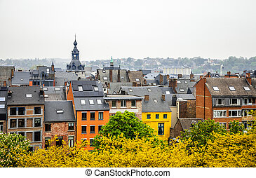 Old houses in the historical city center of Namur, Wallonia...