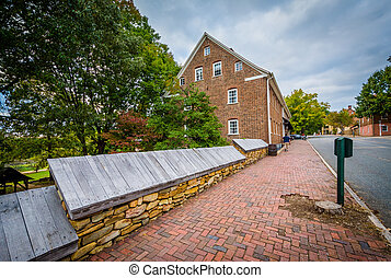 Old houses in the Old Salem Historic District, in downtown Winston-Salem, North Carolina.