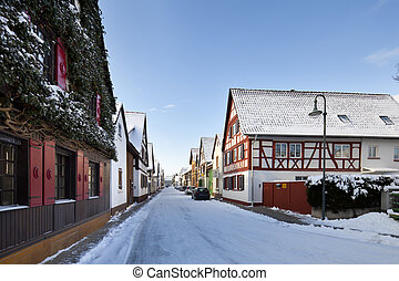 Old Houses In Winter Village, Germany