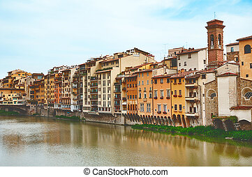 Old houses on the Arno River