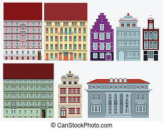 Old houses - Vector illustration of colorful old city houses...