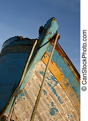 Old crackled and rusty hull (detail)