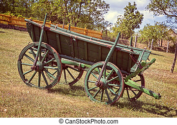 Old Hungarian horse carriage in the yard