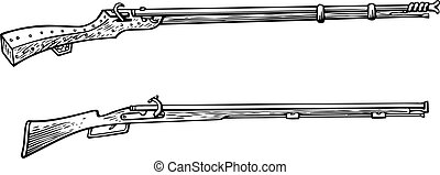 Old hunter's guns - Two old hunter's guns isolated on white...