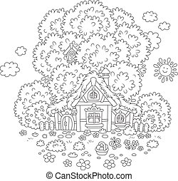 Old hut on Easter day - Vector illustration of a small...