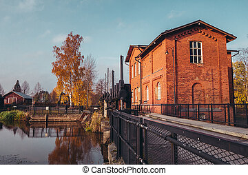 Old hydroelectric dam and its building in Forssa Finland