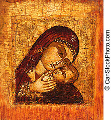 Antique Russian orthodox icon of Mother of God (Mary) and child (Jesus Christ) painted on wooden board.