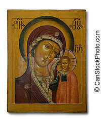 """Old icon """"Our lady of Kazan"""" - Old orthodox icon """"Our lady ..."""
