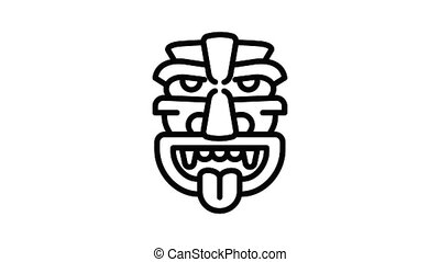 Old idol icon animation outline best object on white background