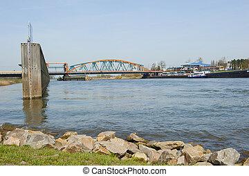 Old IJssel railway bridge and adjacent road bridge combined...