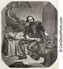Michelangelo - Old illustration depicting Italian...